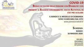 Bonus ai cittadini con disabilita' durante l'emergenza sanitaria Covid-19